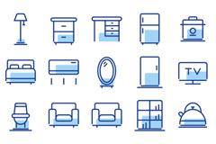 一组多色PNG家具产品图标