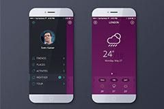 手机iOS天气界面PSD素材下载
