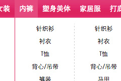商城网站粉色二级下拉菜单导航代码