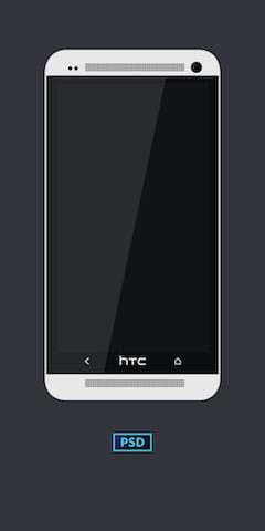 HTC白色智能手机模型PSD分层样机素材
