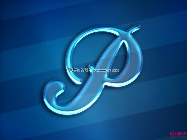 Photoshop制作发光的玻璃文字效果,PS教程,思缘教程网